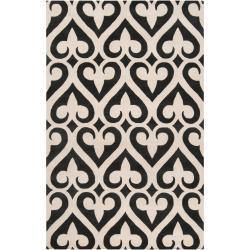 Hand-tufted Black Reelan Geometric Fleur D Lis Wool Area Rug - 8' x 11' - Thumbnail 0