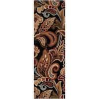 Hand-tufted Black Sandy Dunes Wool Area Rug - 2'6 x 8'