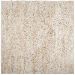 Hand-woven Yellow Berkin Plush Shag New Zealand Wool Rug (8' Square)