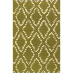 Hand-woven Green Faller Wool Rug (3'6 x 5'6)