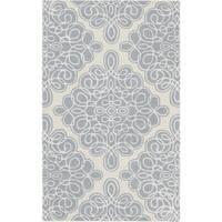 Hand-tufted Cream Cane Geometric Pattern Wool Area Rug - 3'3 x 5'3
