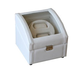 Off-white Embossed Leatherette Faux-suede Lined Double Watch Winder - Thumbnail 0