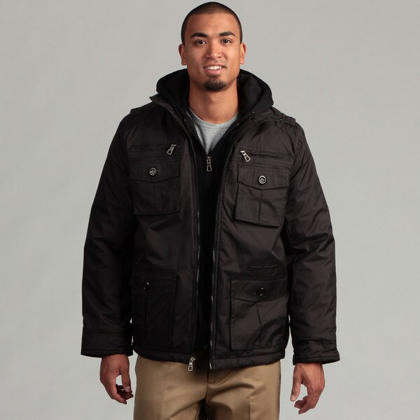Brave Soul Men's Black Fleece Hood 4-pocket Jacket