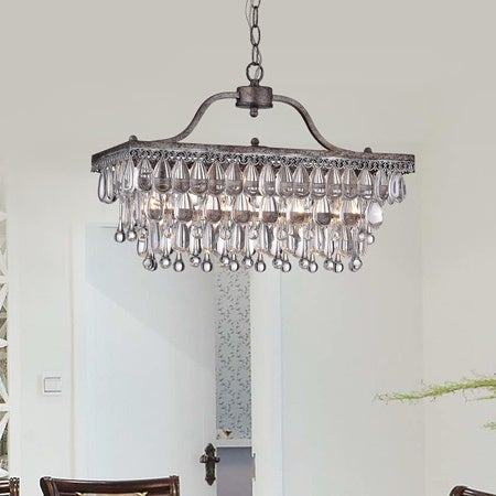 Shop Crystal Glass Drop 3-light Antique Silver Chandelier - Free Shipping  Today - Overstock.com - 6749521 - Shop Crystal Glass Drop 3-light Antique Silver Chandelier - Free