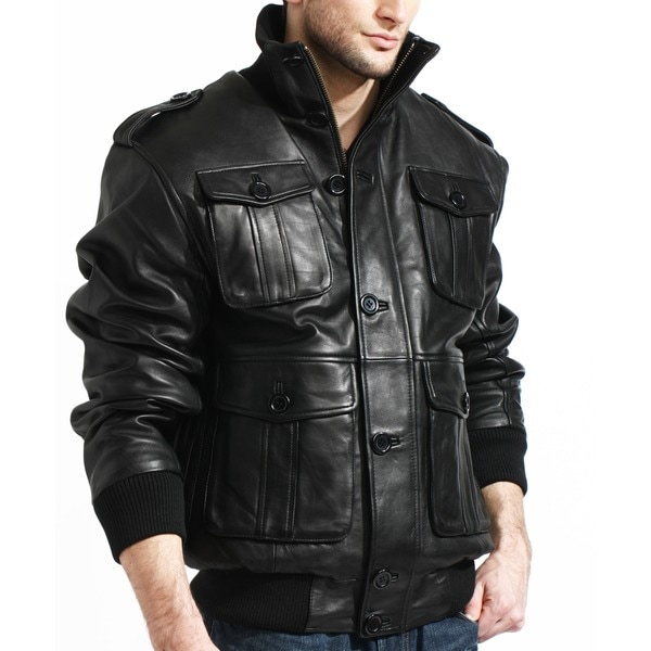 Tanners Avenue Men's Black Lambskin Leather Bomber Jacket - Free ...