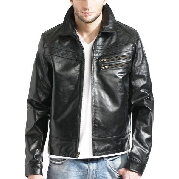 Tanners Avenue Men's Slim Fit Black European Leather Jacket