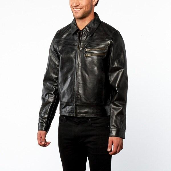 Men's Slim Fit Black European Cut Leather Jacket