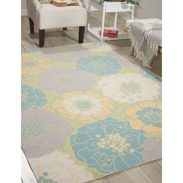 Nourison Home and Garden Floral Green Indoor/Outdoor Rug - 7'9 x 10'10