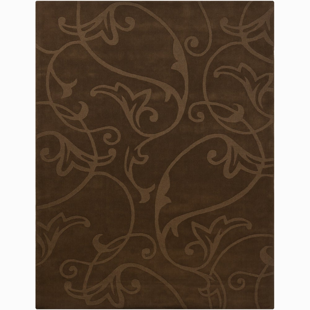 Hand-tufted Mandara Brown Wool Rug (6' x 9')