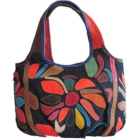 Amerileather 'Avie' Denim/ Leather Shoulder Bag