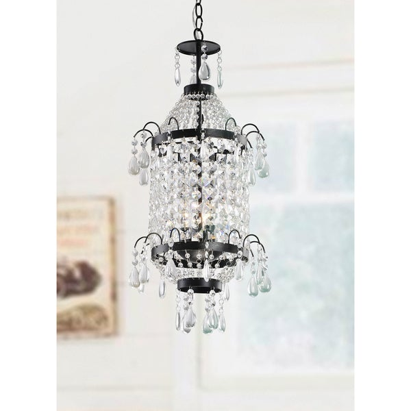 Liata Antique Copper and Crystal Pendant Chandelier
