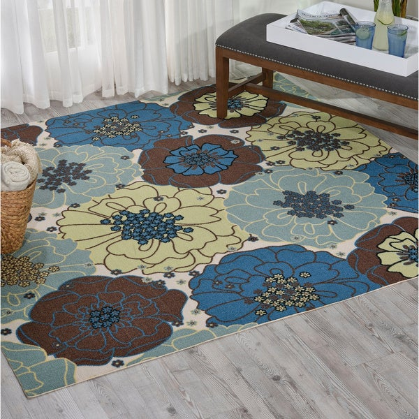 Nourison Home And Garden Blue Floral Indoor Outdoor Rug 7