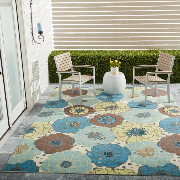 Nourison Home and Garden Blue Floral IndoorOutdoor Rug 7