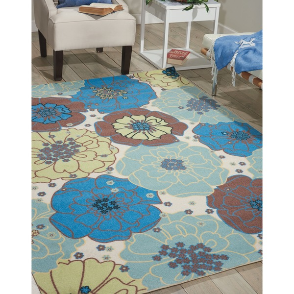 Nourison Home and Garden Blue Floral Indoor/Outdoor Rug (7'9 x 10'10)