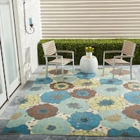Nourison Home and Garden Blue Floral Indoor/Outdoor Rug (7'9 x 10'10) - 7'9 x 10'10