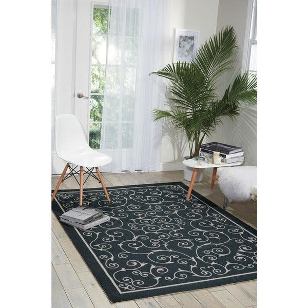 Nourison Home and Garden Casual Black Floral Indoor/Outdoor Rug - 7'9 x 10'10