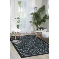 Nourison Home and Garden Casual Black Floral Indoor/Outdoor Rug - 7'9 x 10'10