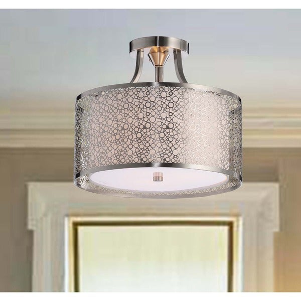 Contemporary White Shade Satin Nickel Semi-Flush Chandelier