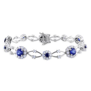 Miadora Sterling Silver 7-1/3ct TGW Created Sapphire Bracelet (7 in)
