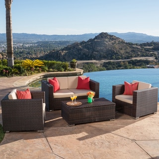 Murano PE Wicker Outdoor 4-piece Sofa Set by Christopher Knight Home