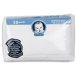 Gerber Prefold Birdseye 3-Ply Cloth Diapers with Absorbent Padding (Pack of 10)