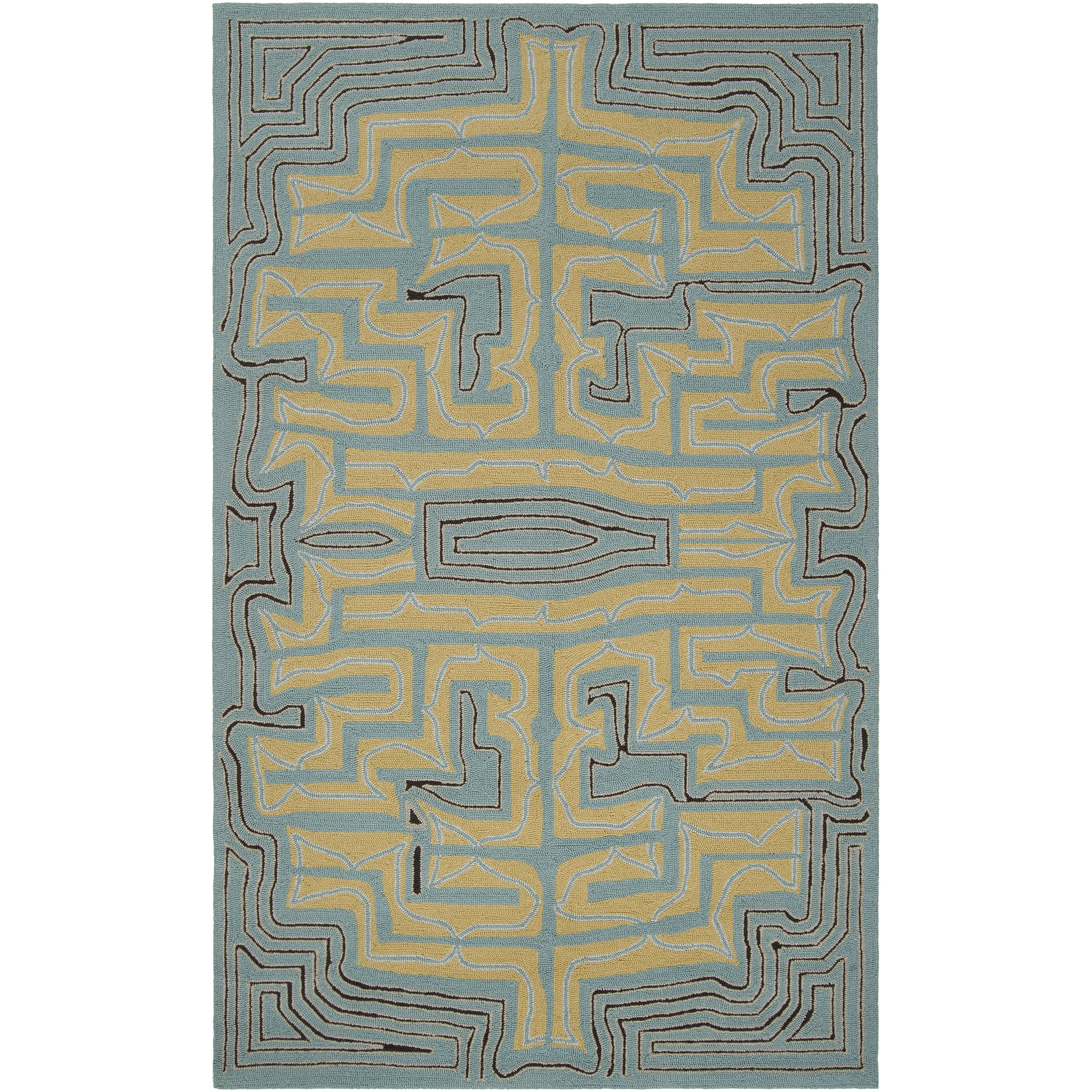 Hand-hooked Green Yarra Indoor/Outdoor Geometric Rug (9' x 12')