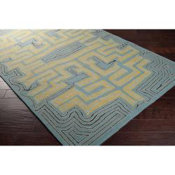 Hand-hooked Green Yarra Indoor/Outdoor Geometric Rug (9' x 12') - Thumbnail 1