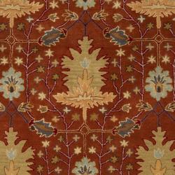 Hand-tufted Burgundy Traditional Bordered Burgundy Sandy Dunes Wool Rug (5' x 8')