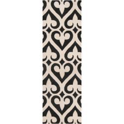 Hand-tufted Black Reelan Geometric Fleur D Lis Wool Rug (2'6 x 8')