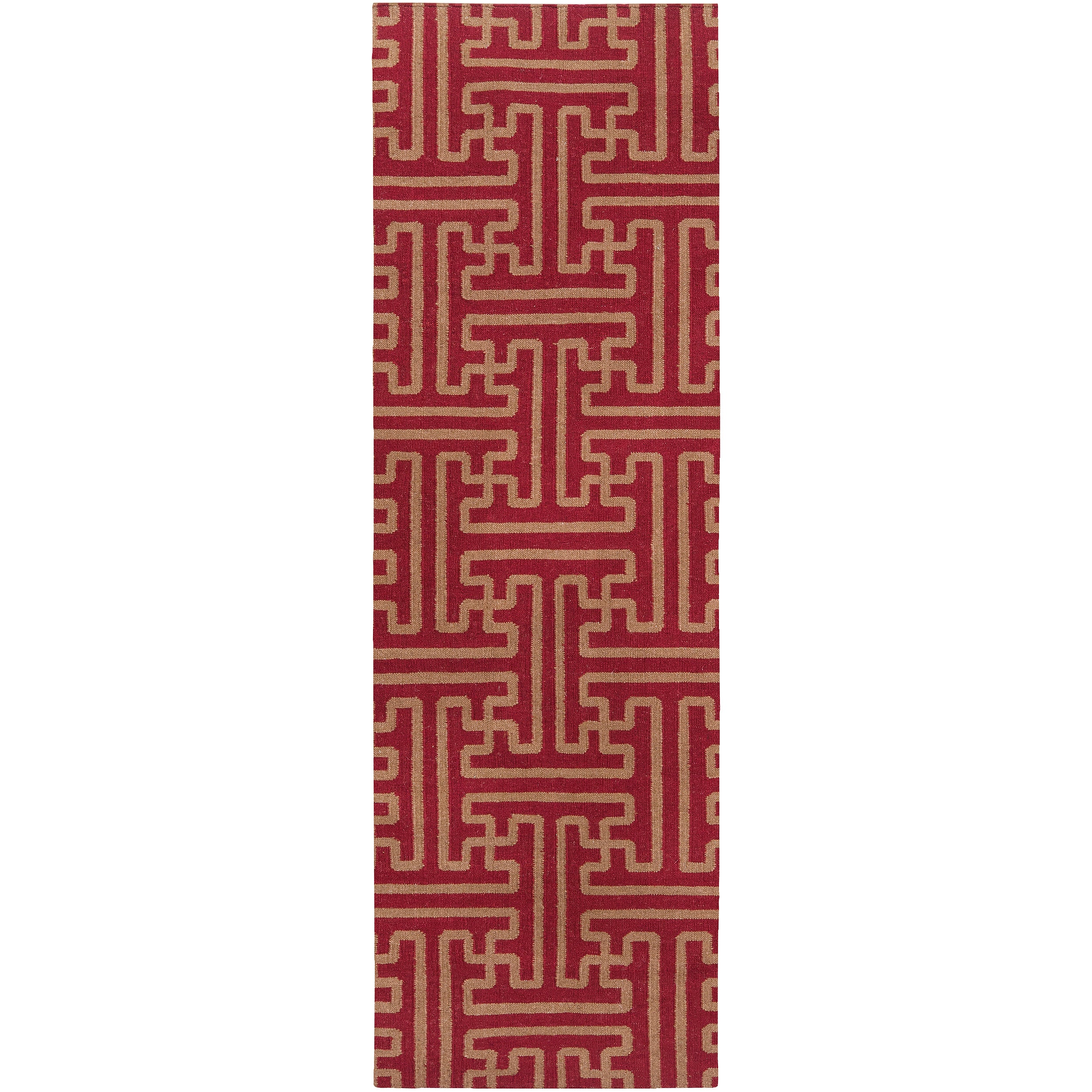 Hand-woven Red Queens Bay Wool Rug (2'6 x 8')