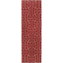 Hand-woven Red Queens Bay Wool Area Rug (2'6 x 8') - Thumbnail 0