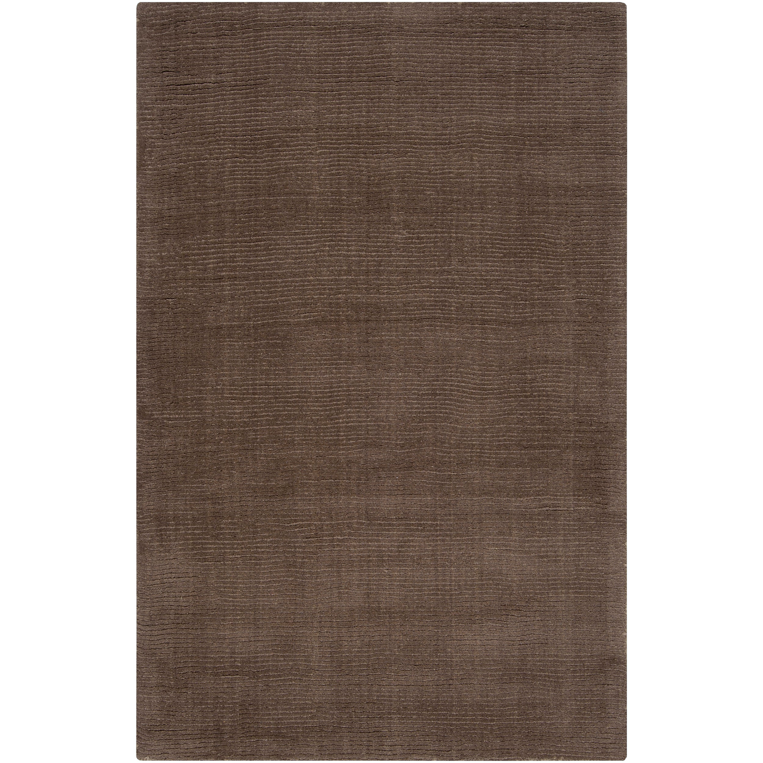 Hand-crafted Solid Brown Casual Mantra Wool Rug (9' x 13')