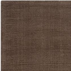 Hand-crafted Solid Brown Casual Mantra Wool Rug (9' x 13') - Thumbnail 1
