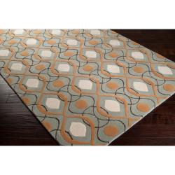 Candice Olson Hand-tufted 'Cane' Gray Moroccan Tile Pattern Wool Rug (3'3 x 5'3) - Thumbnail 1