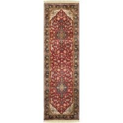 Hand-knotted Maine Ave Burgundy New Zealand Wool Rug (2'6 x 8')
