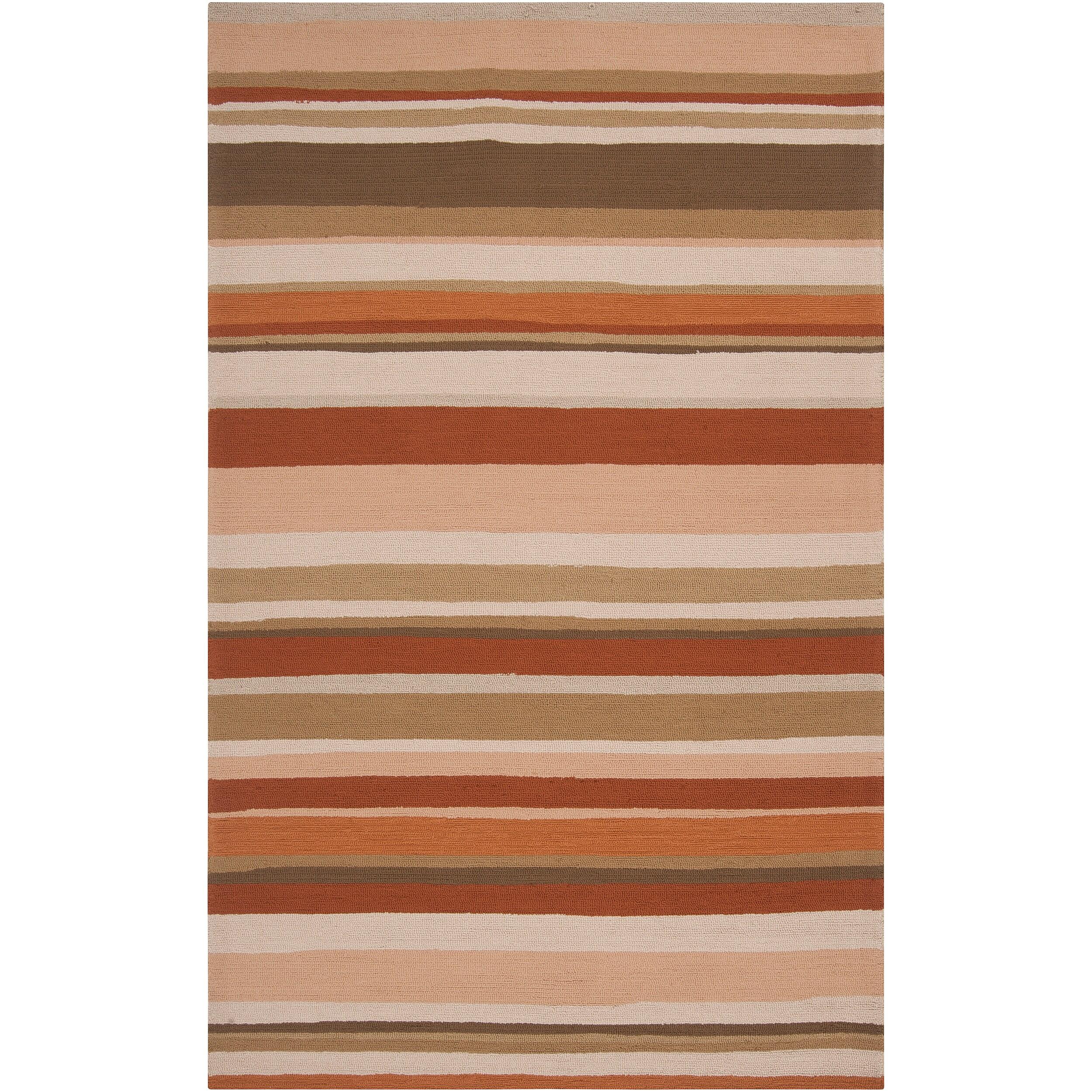 Hand-hooked Cladagh Tan Indoor/Outdoor Stripe Rug (9' x 12')