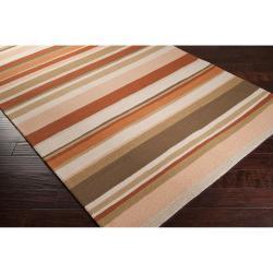 Hand-hooked Cladagh Tan Indoor/Outdoor Stripe Rug (9' x 12') - Thumbnail 1