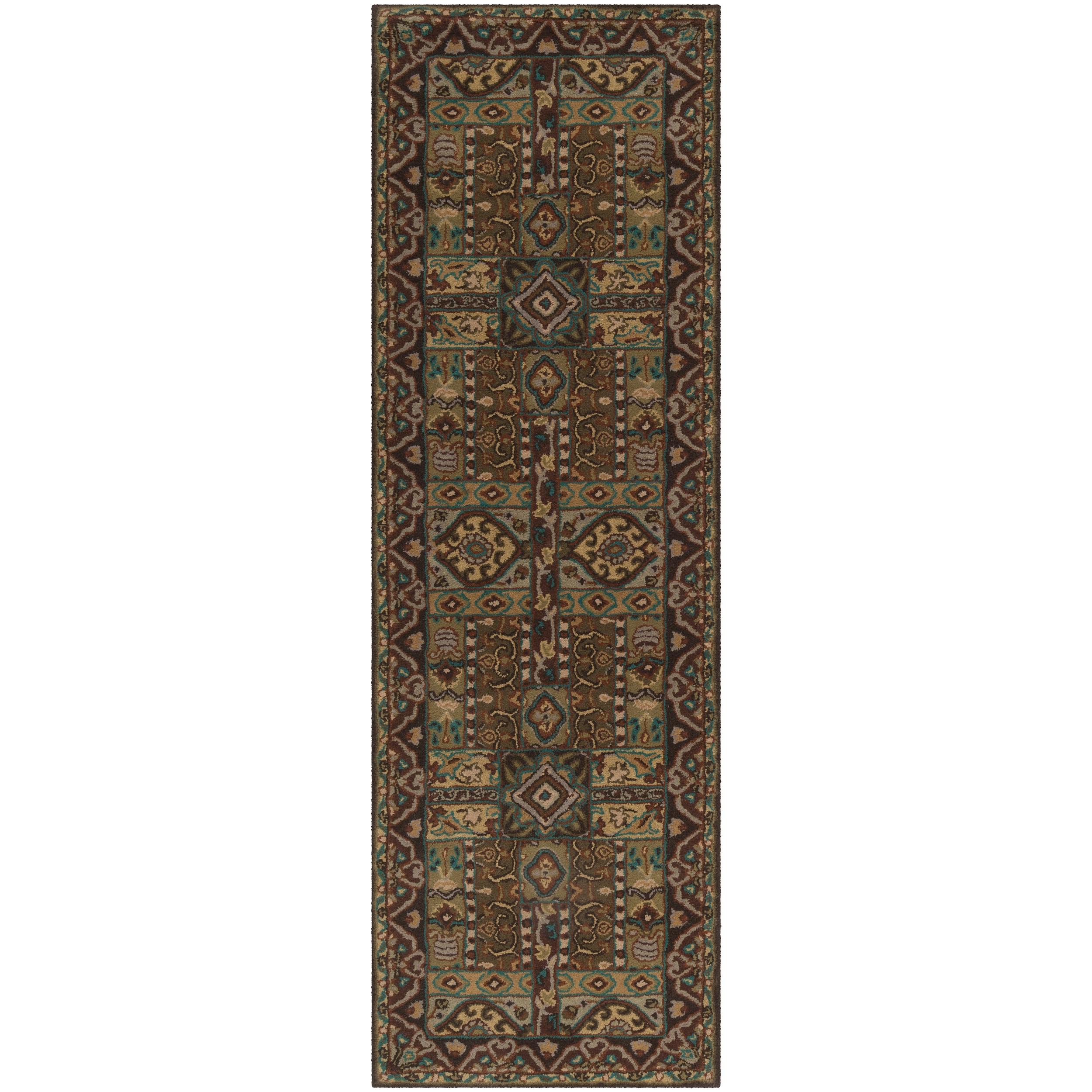 Hand-tufted Kiser Brown Wool Rug (3' x 12'), Size 3' x 12'