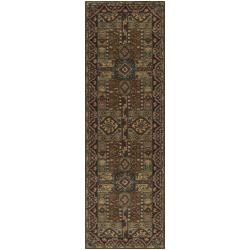 Hand-tufted Kiser Brown Wool Rug (3' x 12')