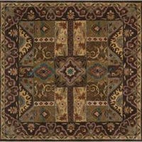 Hand-tufted Kiser Brown Wool Area Rug - 9'9 x 9'9