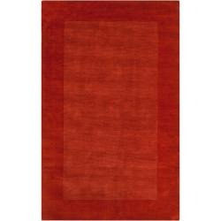 Hand-crafted Orange Tone-On-Tone Bordered Mantra Wool Rug (8' x 11')