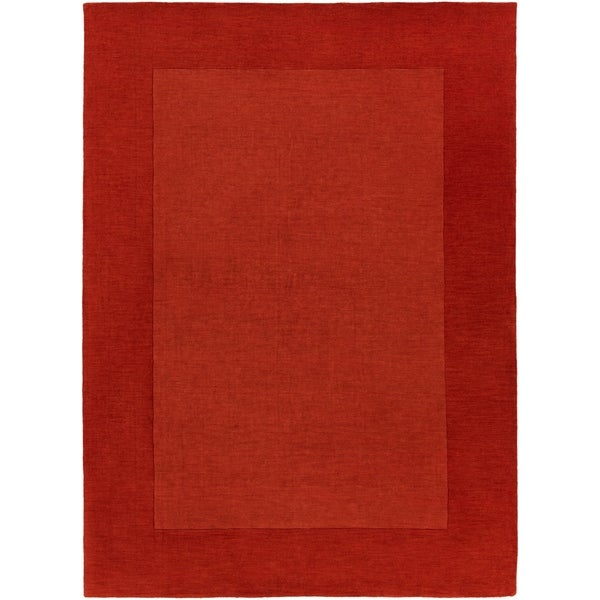 Hand-crafted Orange Tone-On-Tone Bordered Mantra Wool Area Rug - 8' X 11'
