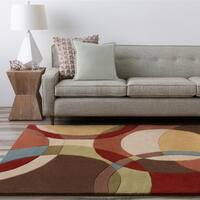 Hand-tufted Arima Bay Brown Geometric Circles Wool Area Rug - 6' x 9'