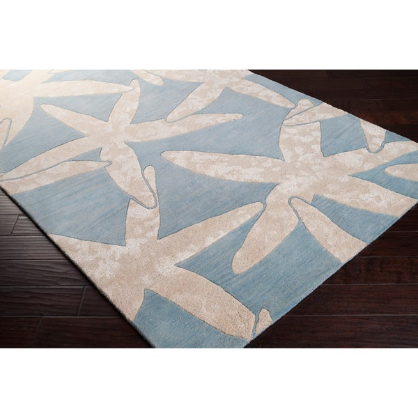 Hand-tufted Bacelot Bay Blue Beach Inspired Wool Area Rug (5' x 8')