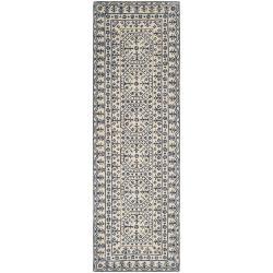 Hand-tufted 'SMI' Blue Oriental Pattern WoolRug (2'6 x 8')