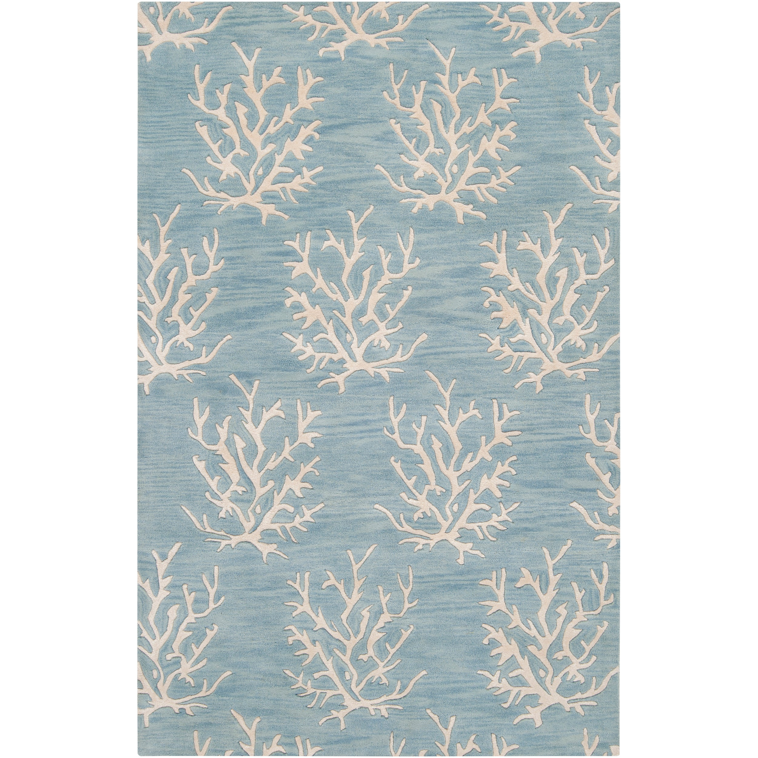 Hand-tufted Bacelot Bay Blue Beach Inspired Wool Rug (8' x 11')