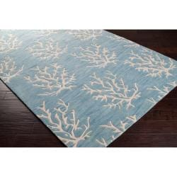 Hand-tufted Bacelot Bay Blue Beach Inspired Wool Rug (8' x 11') - Thumbnail 1