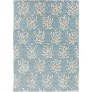 Hand-tufted Bacelot Bay Blue Beach Inspired Wool Area Rug - 8 x 11 (8 x 11 - Aqua)