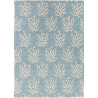 Hand-tufted Bacelot Bay Blue Beach Inspired Wool Area Rug - 8' x 11'