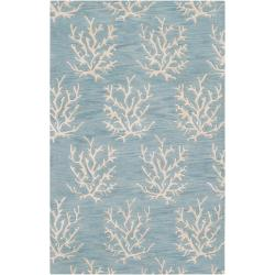 Hand-Tufted Bacelot Bay Blue Beach-Inspired Wool Area Rug (5' x 8')
